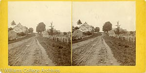 Stereoview of Hancock, MA Shaker Village - Looking east to East Family.