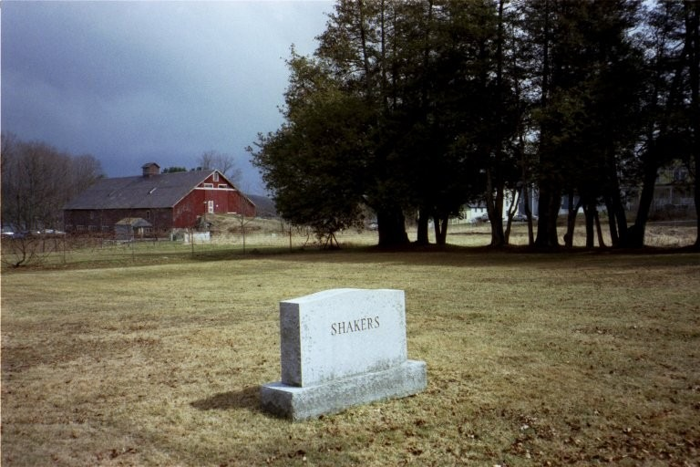 Church Family cemetery stone with 1854 barn in the background