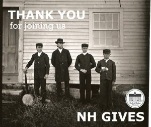 Historic image of Shaker boys with instruments. Caption: Thank you for joining us for NH Gives!