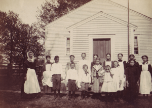 Church Family Schoolhouse with Children